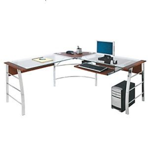 L-shaped desk glass for sale